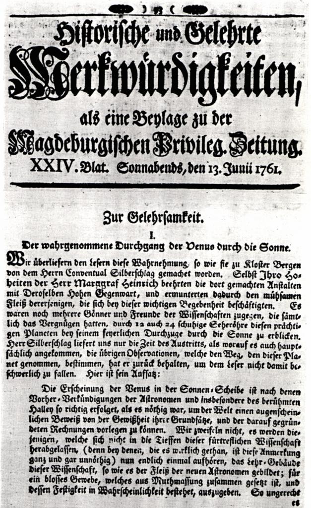"""13.Juni 1761 in der """"Magdeburgischen Privilegierten Zeitung"""" Seite 1 Quelle: Stadtarchiv Magdeburg"""