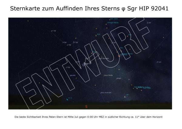 Sternpatenschaft Sternkarte